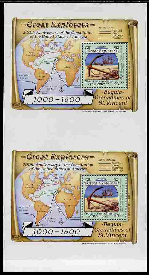 St Vincent - Bequia 1988 Explorers $5 m/sheet (Map & Anchor) vert pair unmounted mint from an uncut archive proof sheet, folded vertically but extremely rare.