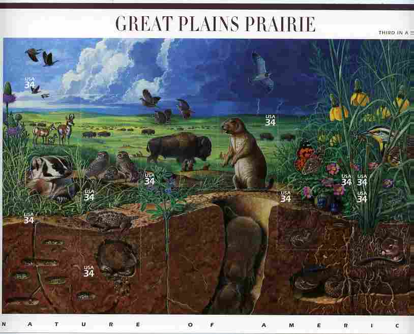 United States 2001 Nature of America #3 - The Great Plains Prairie imperf sheetlet containing set of 10 self-adhesives unmounted mint SG 3975