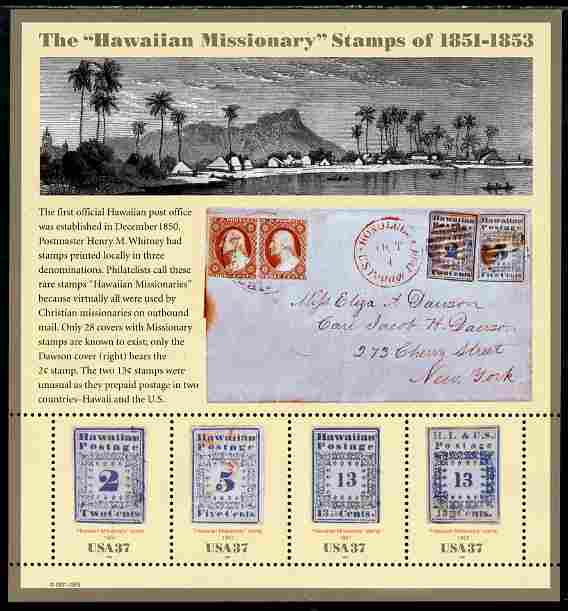 United States 2002 Hawaiian Missionary Stamps perf m/sheet unmounted mint SG MS 4193