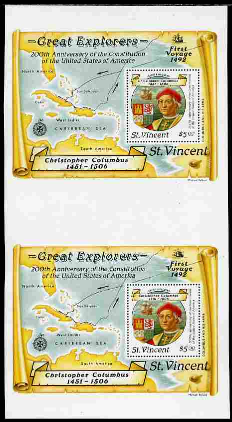 St Vincent 1988 Columbus $5 m/sheet vertical pair from uncut press sheet unmounted mint and scarce (only 45 pairs exist).