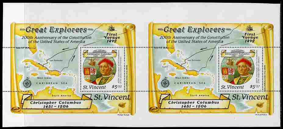 St Vincent 1988 Columbus $5 m/sheet horiz pair from uncut press sheet horizontal perfs extended at right unmounted mint and scarce (only 8 pairs exist).