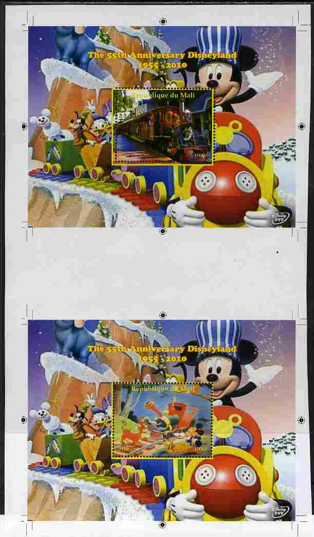 Mali 2010 The 55th Anniversary of Disneyland - Mickey Mouse Railway s/sheets #01 & #08 se-tenant from uncut perf proof sheet (2 exist) unmounted mint