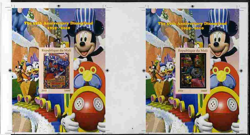 Mali 2010 The 55th Anniversary of Disneyland - Mickey Mouse Railway s/sheets #03 & #04 se-tenant from uncut imperf proof sheet (3 exist) unmounted mint