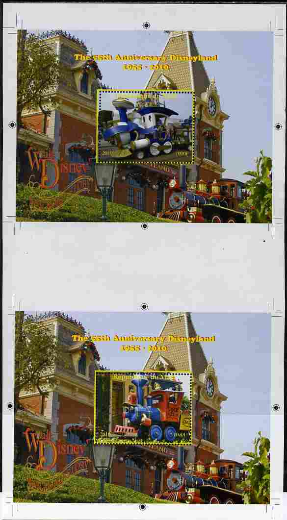 Mali 2010 The 55th Anniversary of Disneyland - Walt Disney's Railroad Story s/sheets #13 & #14 se-tenant from uncut perf proof sheet (3 exist) unmounted mint