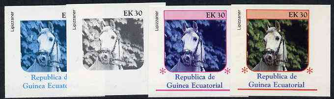 Equatorial Guinea 1976 Horses EK30 (Lipizzaner) set of 4 imperf progressive proofs on ungummed paper comprising 1, 2, 3 and all 4 colours (as Mi 810)