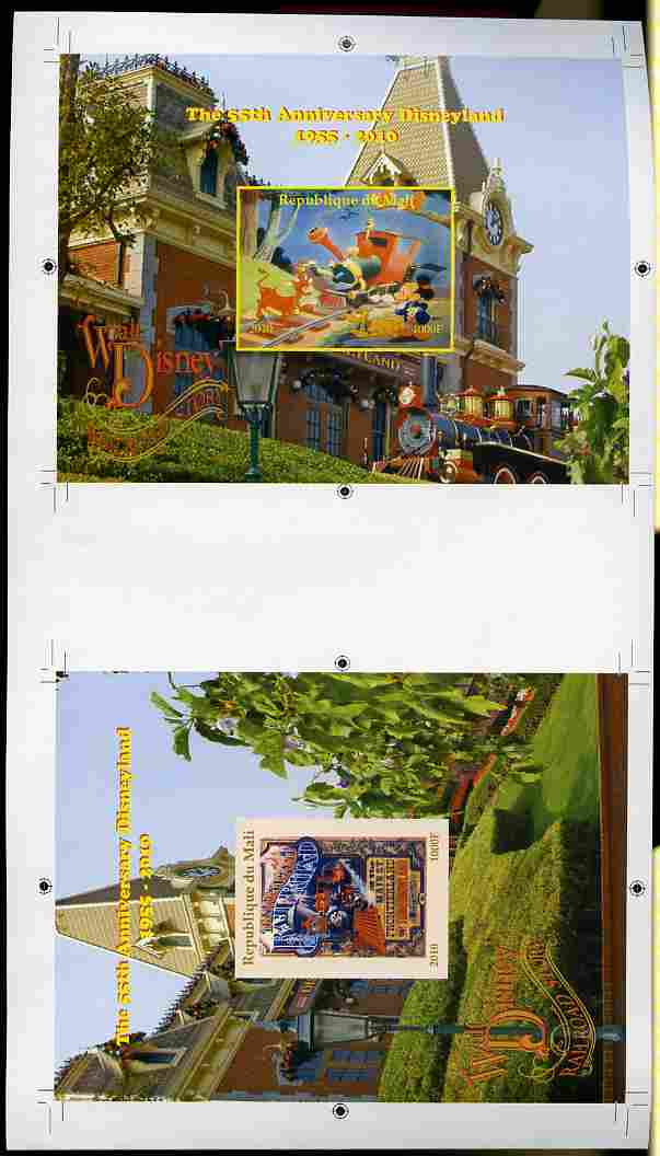Mali 2010 The 55th Anniversary of Disneyland - Walt Disney's Railroad Story s/sheets #15 & #16 se-tenant from uncut imperf proof sheet (3 exist) unmounted mint