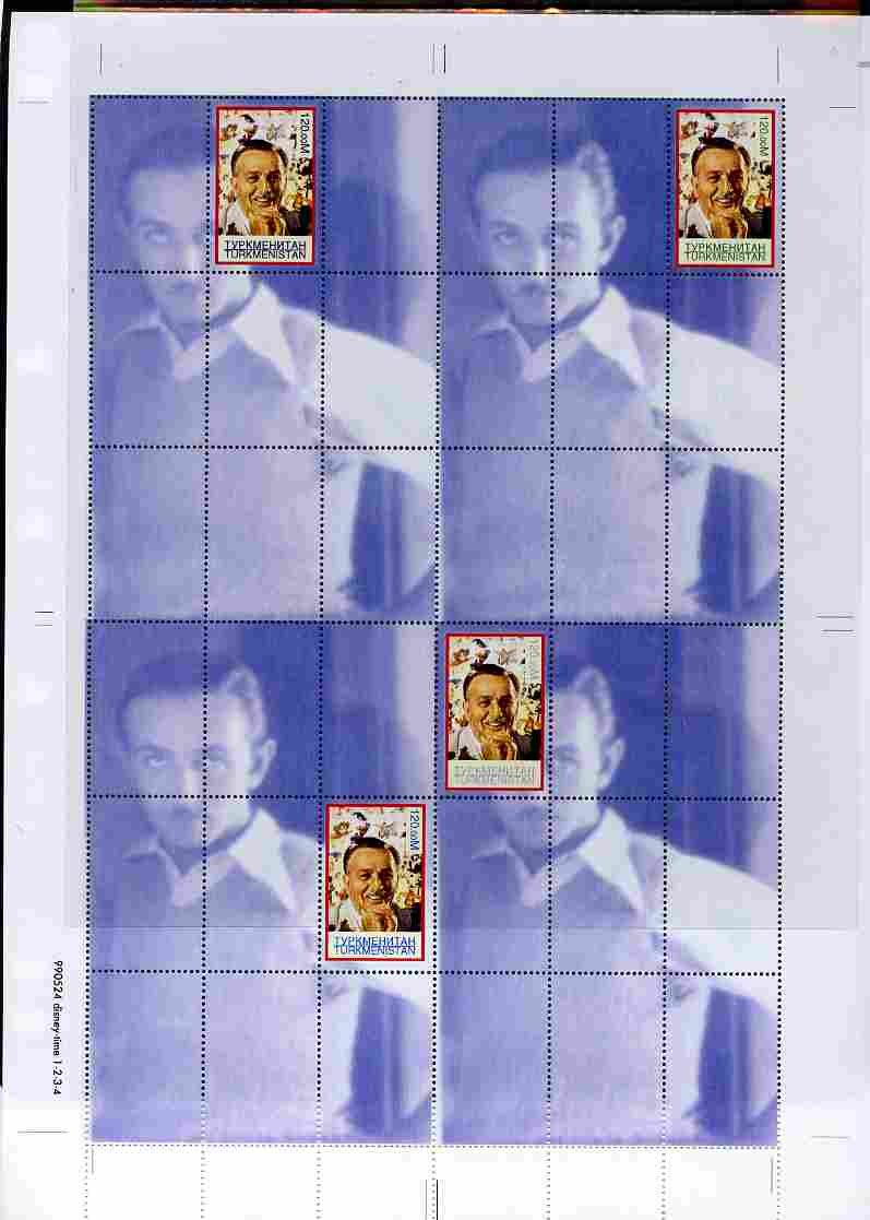 Turkmenistan 1999 Personalities - Walt Disney uncut perforated proof sheet containing 4 souvenir sheets with Disney stamp in positions 1, 2, 3 & 6, unmounted mint and scarce with less than 10 such sheets produced