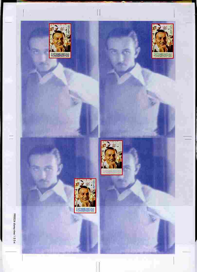 Turkmenistan 1999 Personalities - Walt Disney uncut imperforate proof sheet containing 4 souvenir sheets with Disney stamp in positions 1, 2, 3 & 6, unmounted mint and scarce with less than 10 such sheets produced