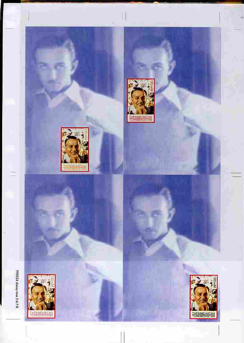Turkmenistan 1999 Personalities - Walt Disney uncut imperforate proof sheet containing 4 souvenir sheets with Disney stamp in positions 4, 7, 8 & 9, unmounted mint and scarce with less than 10 such sheets produced