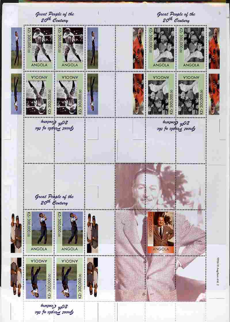 Angola 1999 Great People of the 20th Century uncut perforated proof sheet containing sheetlets of Babe Ruth, Einstein, Aoki & Walt Disney, unmounted mint and scarce with ...
