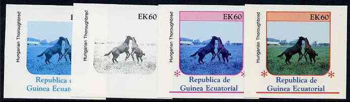 Equatorial Guinea 1976 Horses EK60 (Hungarian Thoroughbred) set of 4 imperf progressive proofs on ungummed paper comprising 1, 2, 3 and all 4 colours (as Mi 811)