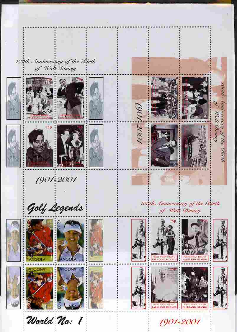 Falkland Islands 2001 Birth Centenary of Walt Disney uncut perforated proof sheet containing sheetlets of 4 from Westpoint, Bleaker Island & West Swan Island plusAngola G...
