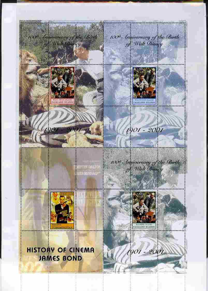 Falkland Islands 2001 Birth Centenary of Walt Disney uncut perforated proof sheet containing sheetlets of 4 from Westpoint, Bleaker Island & West Swan Island plus Turkmen...