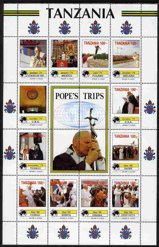 Tanzania 1992 Pope's Visits 1979-80 perf sheet of 16 containing 12 values plus 4 labels unmounted mint but corner creased