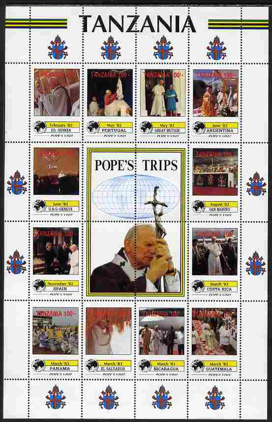 Tanzania 1992 Pope's Visits 1982-83 perf sheet of 16 containing 12 values plus 4 labels unmounted mint