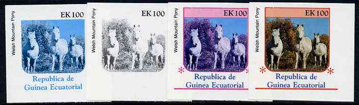 Equatorial Guinea 1976 Horses EK100 (Welsh Mountain Pony) set of 4 imperf progressive proofs on ungummed paper comprising 1, 2, 3 and all 4 colours (as Mi 812)