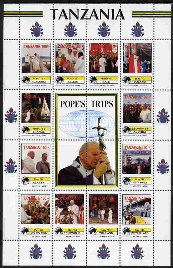 Tanzania 1992 Pope's Visits 1983-84 perf sheet of 16 containing 12 values plus 4 labels unmounted mint