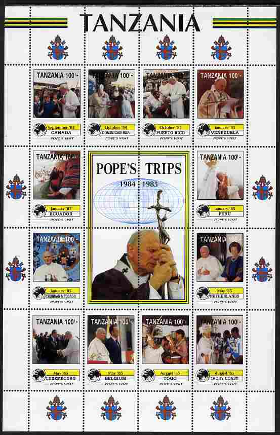 Tanzania 1992 Pope's Visits 1984-85 perf sheet of 16 containing 12 values plus 4 labels unmounted mint