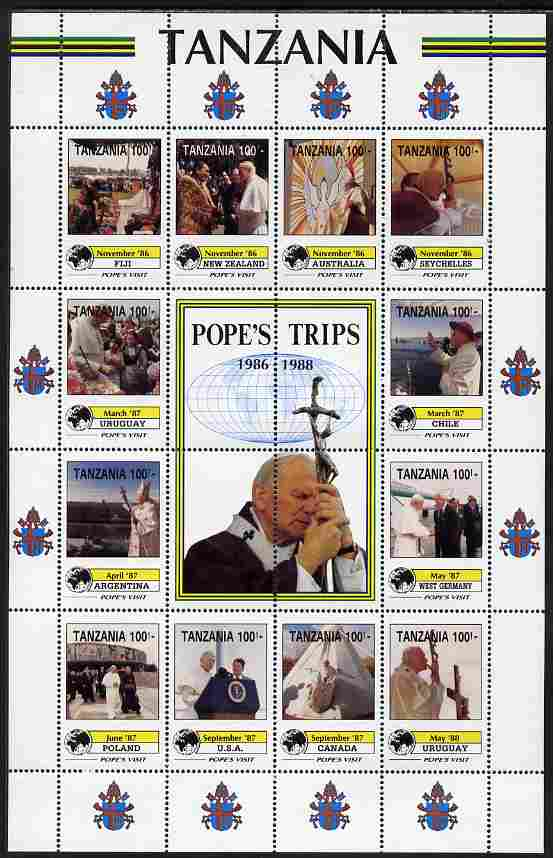 Tanzania 1992 Pope's Visits 1986-88 perf sheet of 16 containing 12 values plus 4 labels unmounted mint
