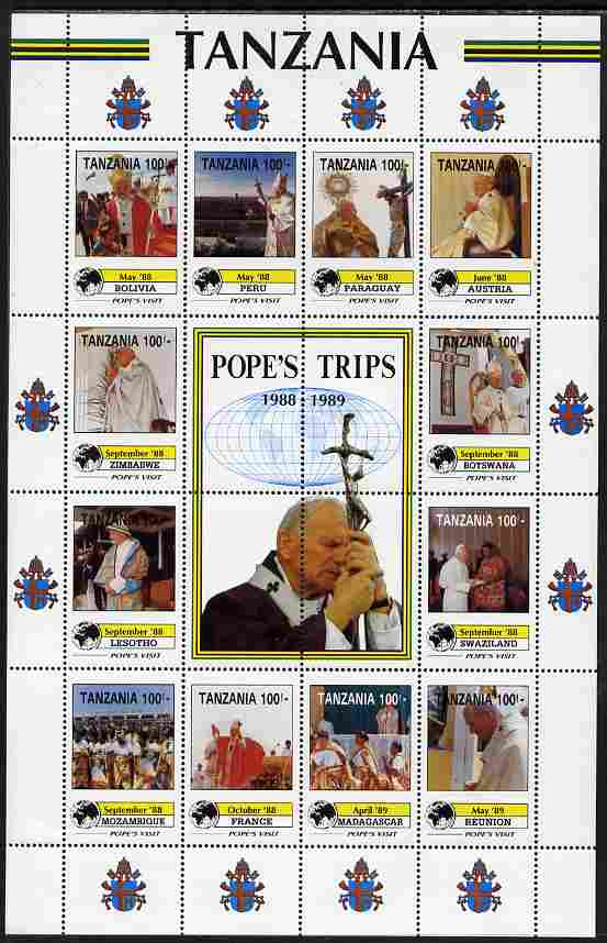 Tanzania 1992 Pope's Visits 1988-89 perf sheet of 16 containing 12 values plus 4 labels unmounted mint