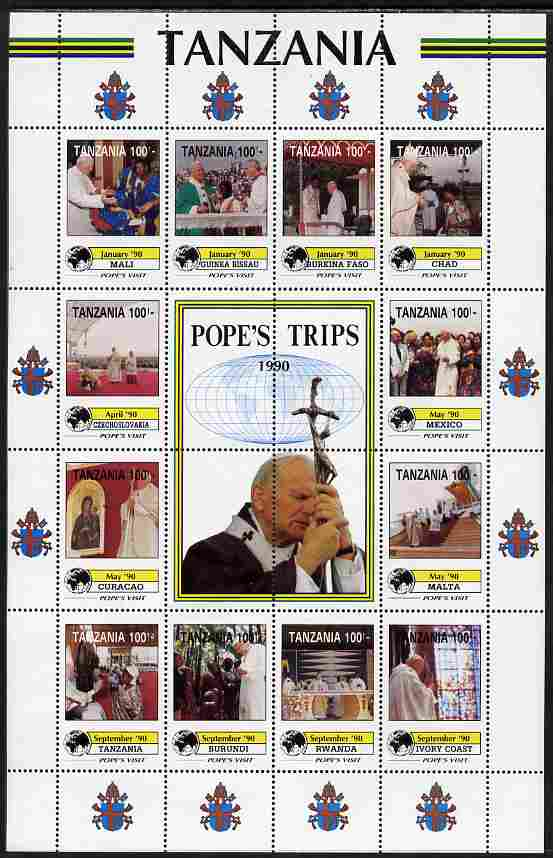 Tanzania 1992 Pope's Visits 1990 perf sheet of 16 containing 12 values plus 4 labels unmounted mint