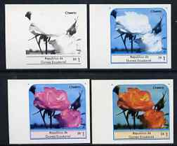 Equatorial Guinea 1976 Roses EK1 (Cheerio) set of 4 imperf progressive proofs on ungummed paper comprising 1, 2, 3 and all 4 colours (as Mi 972)