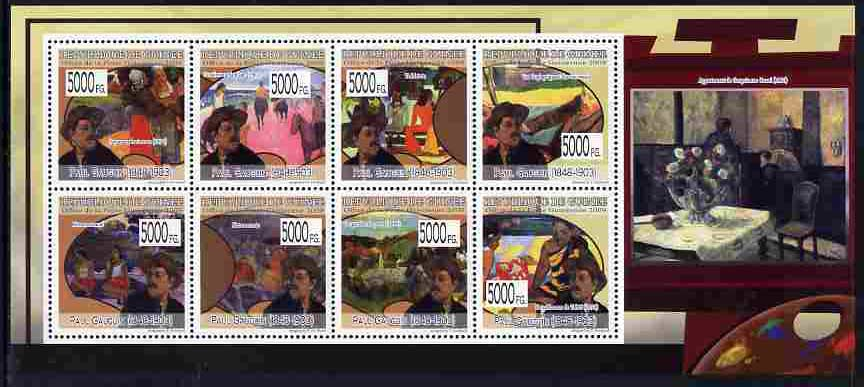 Guinea - Conakry 2009 Paintings by Paul Gauguin perf sheetlet containing 8 values unmounted mint, Michel 6959-66