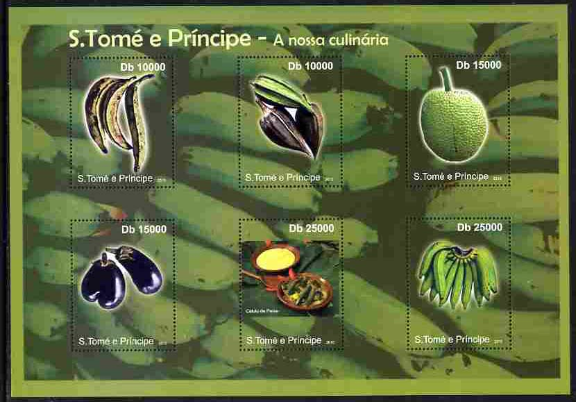 St Thomas & Prince Islands 2010 Fruit ofSt Thomas perf sheetlet containing 6 values unmounted mint