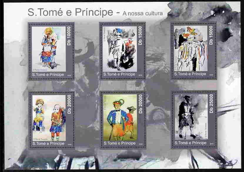 St Thomas & Prince Islands 2010 Culture ofSt Thomas (Paintings) perf sheetlet containing 6 values unmounted mint