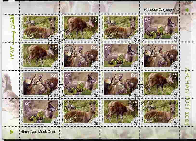 Afghanistan 2004 WWF - Himalayan Musk Deer perf sheetlet of 16 containing 4 x sets of 4 fine cto used