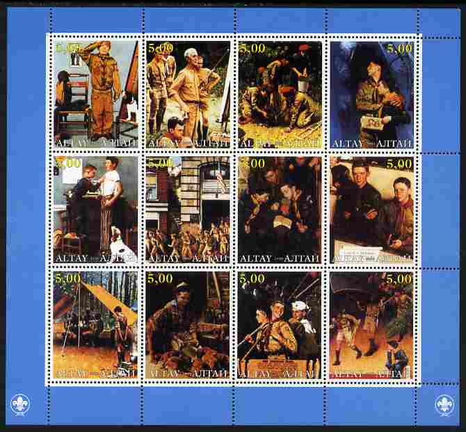 Altaj Republic 2000 Norman Rockwell Scouts perf sheetlet containing 12 values unmounted mint