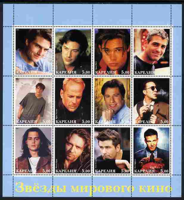 Karjala Republic 2001 Hollywood Actors perf sheetlet containing 12 values unmounted mint