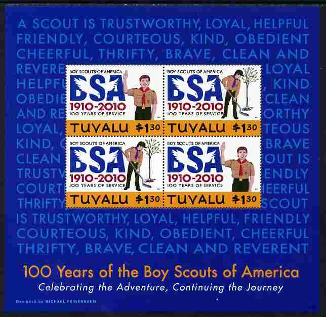 Tuvalu 2010 Centenary of Boy Scouts of America #1 perf sheetlet containing 4 values (blue background) unmounted mint SG MS 1395