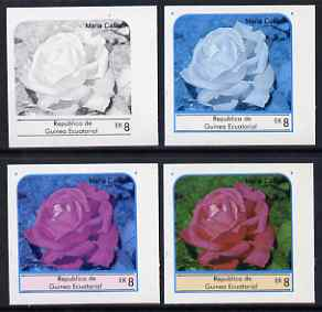 Equatorial Guinea 1976 Roses EK8 (Maria Callas) set of 4 imperf progressive proofs on ungummed paper comprising 1, 2, 3 and all 4 colours (as Mi 975)