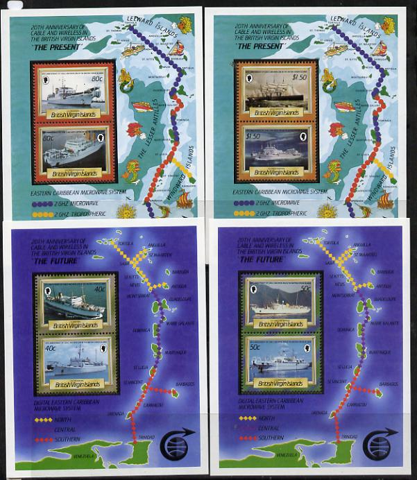British Virgin Islands 1986 Cable & Wireless (Ships) set of 4 m/sheets unmounted mint, SG MS 623