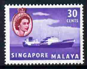 Singapore 1955-59 Oil Tanker 30c unmounted mint, SG 48