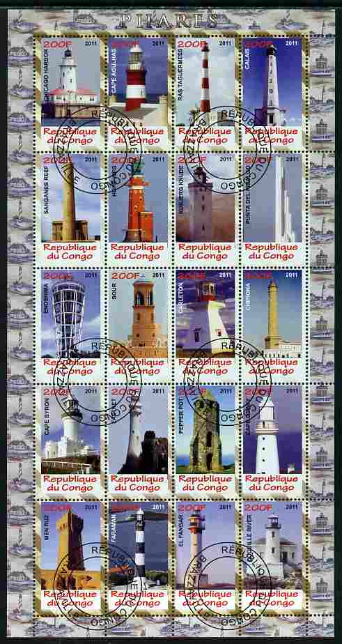 Congo 2011 Lighthouses perf sheetlet containing 20 values fine cto used
