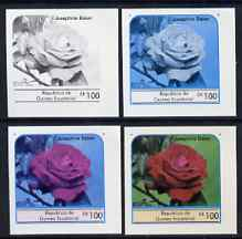 Equatorial Guinea 1976 Roses EK100 (Josephine Baker) set of 4 imperf progressive proofs on ungummed paper comprising 1, 2, 3 and all 4 colours (as Mi 979)