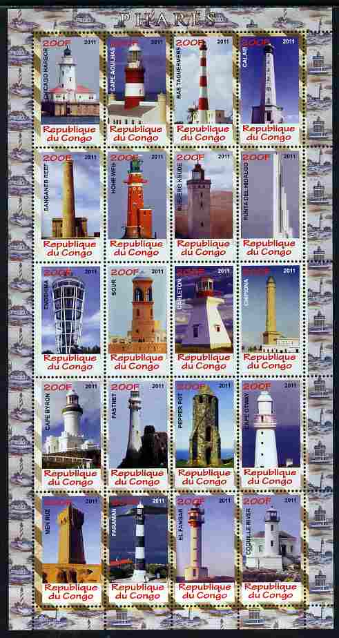 Congo 2011 Lighthouses perf sheetlet containing 20 values unmounted mint