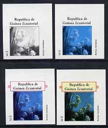 Equatorial Guinea 1977 Flowers EK3 (Arnica montana) set of 4 imperf progressive proofs on ungummed paper comprising 1, 2, 3 and all 4 colours (as Mi 1214)
