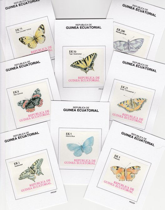 Equatorial Guinea (613) 1977 BUTTERFLIES set of 8 imperf each mounted on Prppf cards, as Michel 1197-1204B