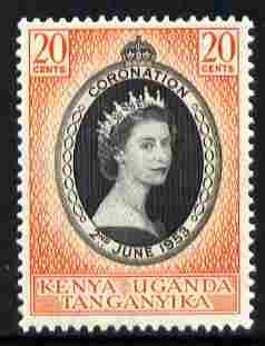Kenya, Uganda & Tanganyika 1953 Coronation 20c unmounted mint SG 165