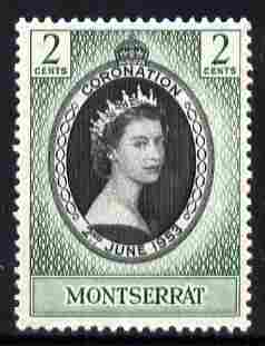 Montserrat 1953 Coronation 2c unmounted mint SG 136, stamps on coronation, stamps on royalty