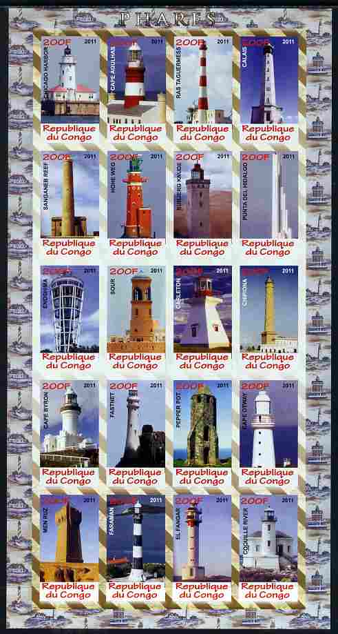 Congo 2011 Lighthouses imperf sheetlet containing 20 values unmounted mint