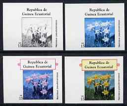 Equatorial Guinea 1977 Flowers EK15 (Narcissus) set of 4 imperf progressive proofs on ungummed paper comprising 1, 2, 3 and all 4 colours (as Mi 1217)