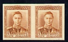 New Zealand 1938-44 KG6 1/2d orange-brown IMPERF horiz pair on thin card, rare thus, as SG604