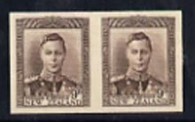 New Zealand 1947-52 KG6 9d purple-brown IMPERF horiz pair on thin card, rare thus, as SG685