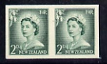 New Zealand 1955-59 QEII 2d bluish-green (large numeral) IMPERF horiz pair on thin card, rare thus, as SG747