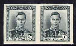 New Zealand 1947-52 KG6 5d slate IMPERF horiz pair on gummed wmk'd paper ex BW archives and extremely scarce thus, as SG682