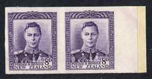 New Zealand 1947-52 KG6 8d violet IMPERF horiz pair on thin card, rare thus, as SG684